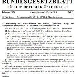 Covid Verordnung vom 15.11.2020