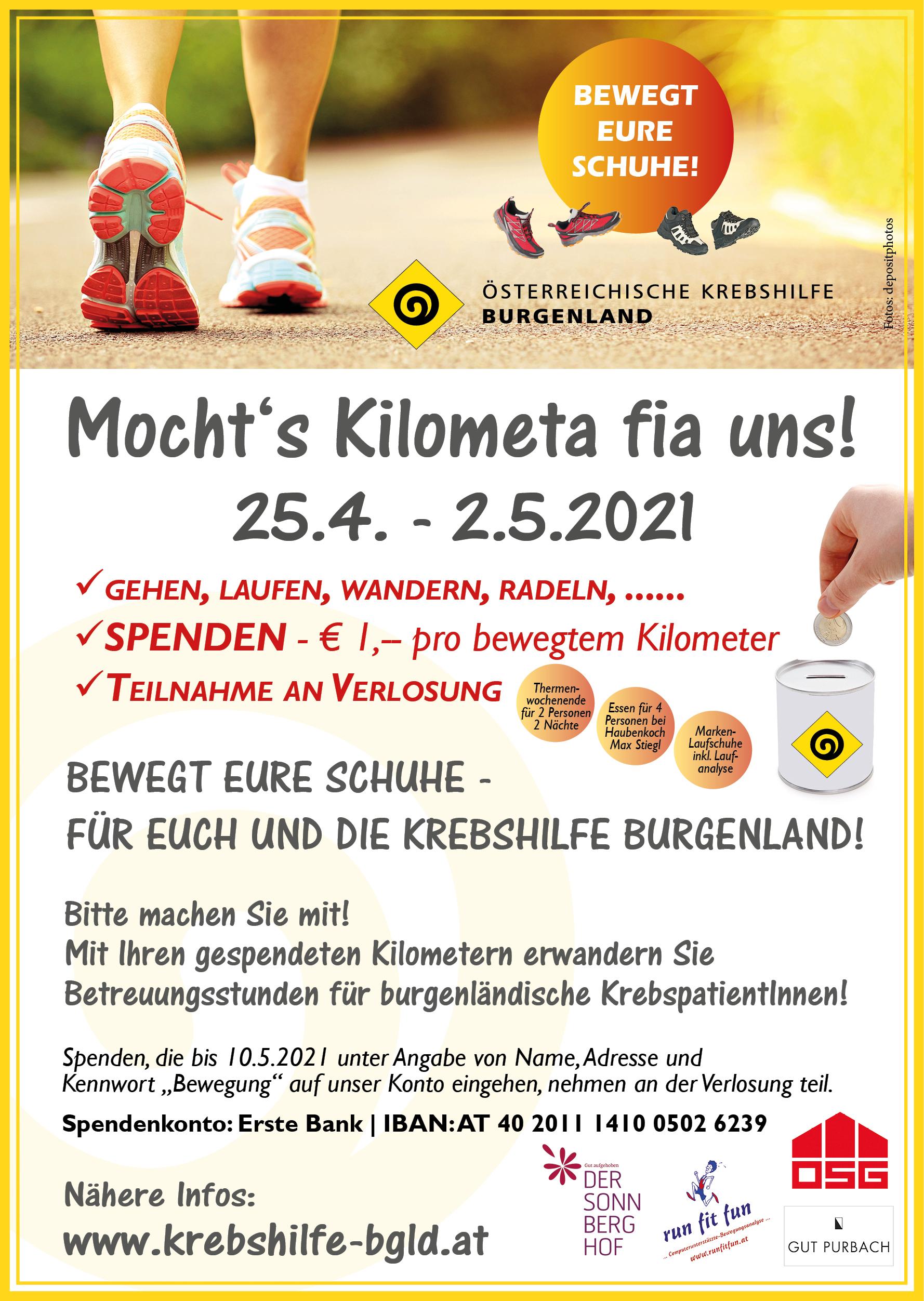 Krebshilfe Burgenland: Mochts Kilometa fia uns!