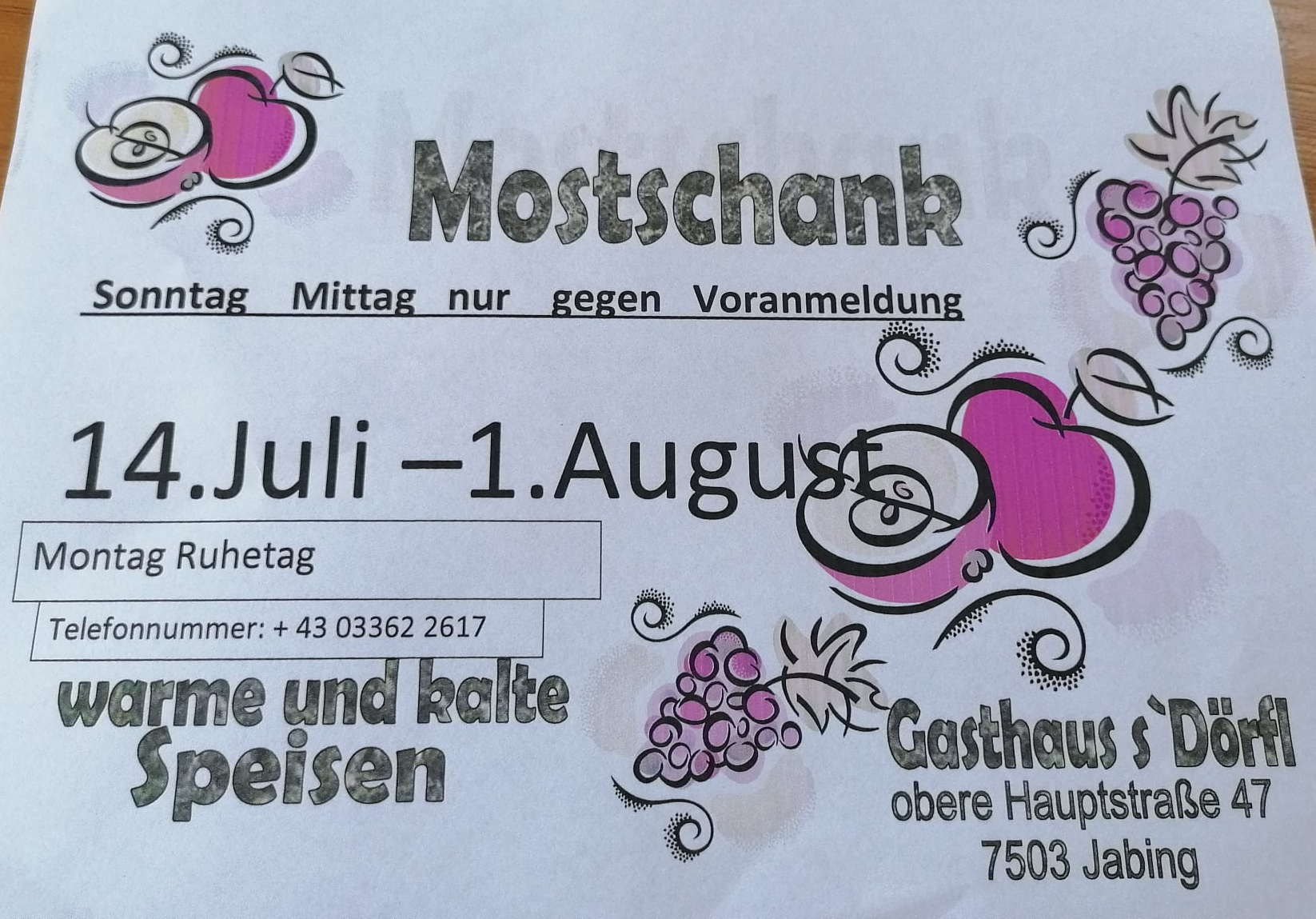 You are currently viewing Mostschank im Gasthaus Titz!